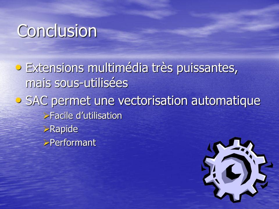 Conclusion Extensions multimédia très puissantes, mais sous-utilisées Extensions multimédia très puissantes, mais sous-utilisées SAC permet une vectorisation automatique SAC permet une vectorisation automatique Facile dutilisation Facile dutilisation Rapide Rapide Performant Performant