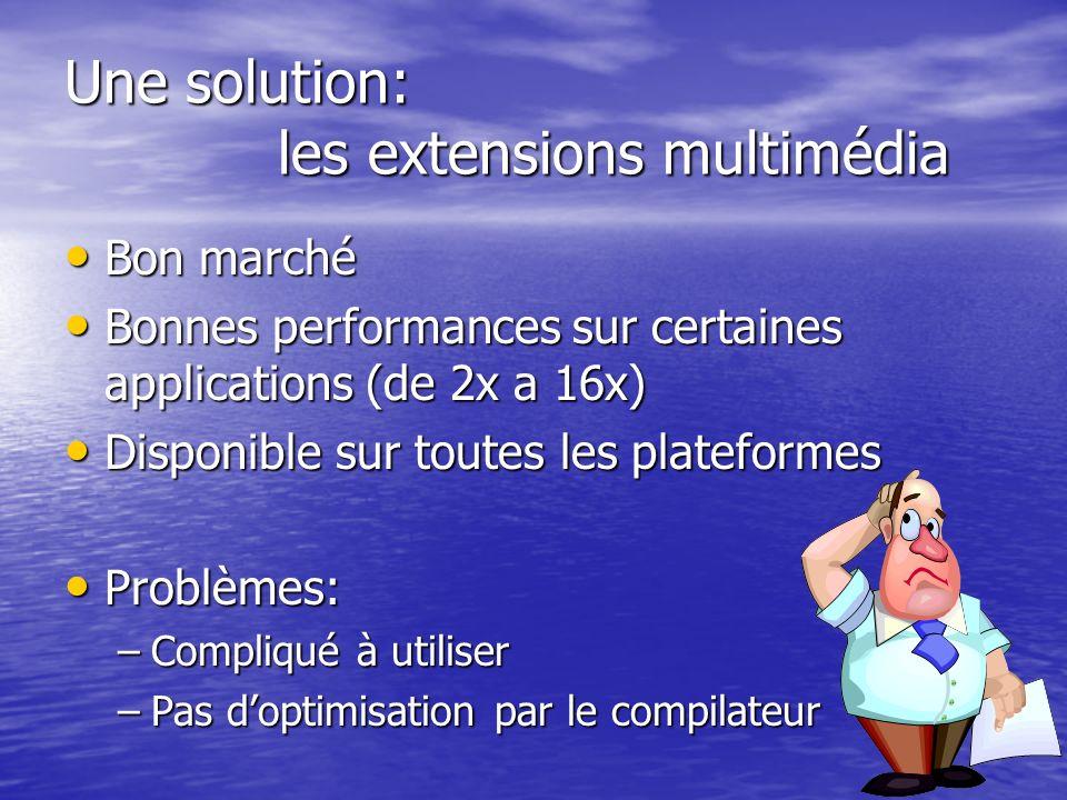 Une solution: les extensions multimédia Bon marché Bon marché Bonnes performances sur certaines applications (de 2x a 16x) Bonnes performances sur cer