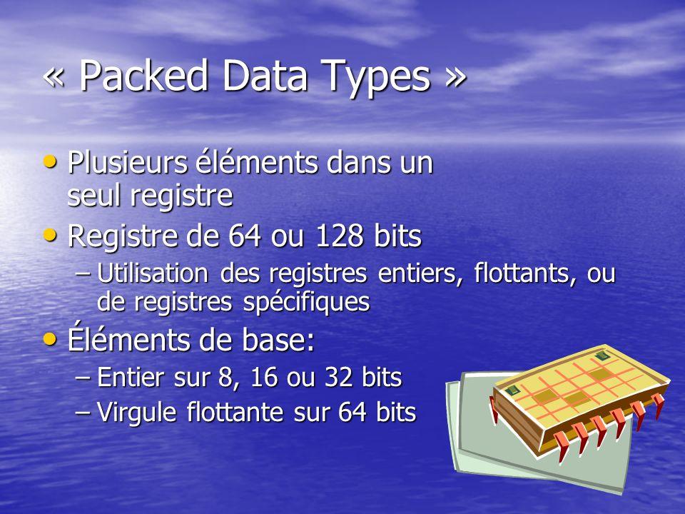 « Packed Data Types » Plusieurs éléments dans un seul registre Plusieurs éléments dans un seul registre Registre de 64 ou 128 bits Registre de 64 ou 128 bits –Utilisation des registres entiers, flottants, ou de registres spécifiques Éléments de base: Éléments de base: –Entier sur 8, 16 ou 32 bits –Virgule flottante sur 64 bits