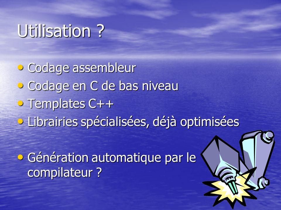 Utilisation ? Codage assembleur Codage assembleur Codage en C de bas niveau Codage en C de bas niveau Templates C++ Templates C++ Librairies spécialis