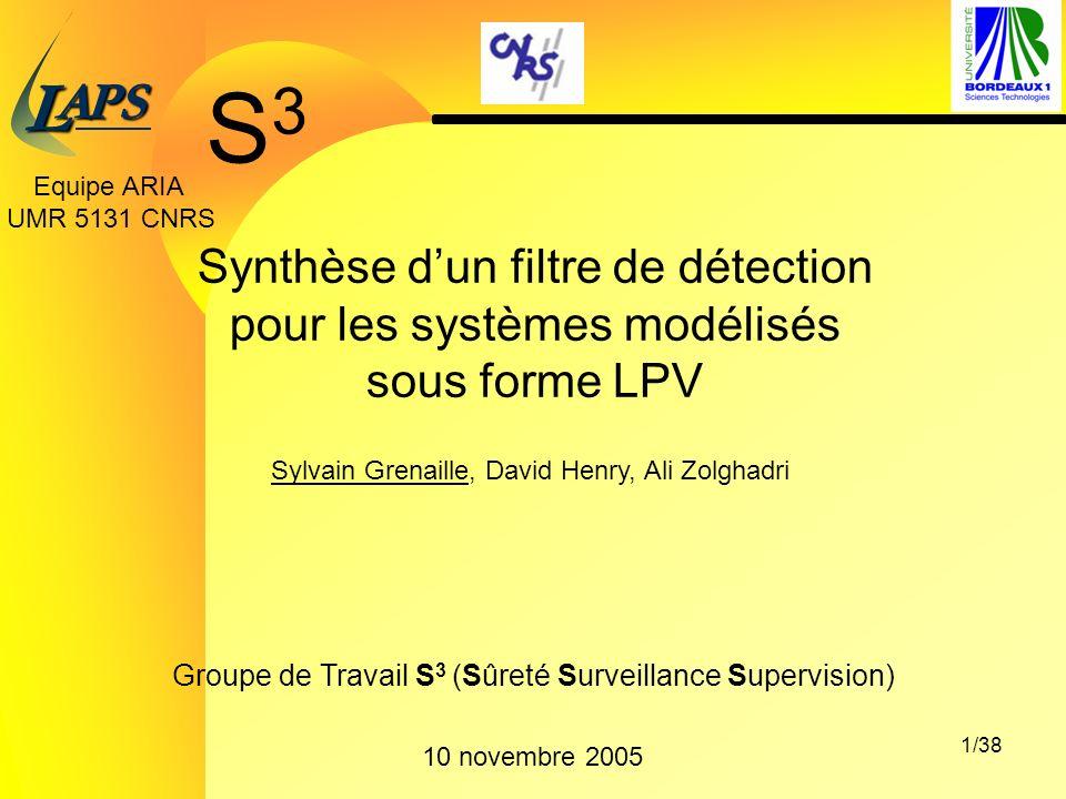 PAS L 1/38 Groupe de Travail S 3 (Sûreté Surveillance Supervision) 10 novembre 2005 Sylvain Grenaille, David Henry, Ali Zolghadri Synthèse dun filtre de détection pour les systèmes modélisés sous forme LPV Equipe ARIA UMR 5131 CNRS S3S3