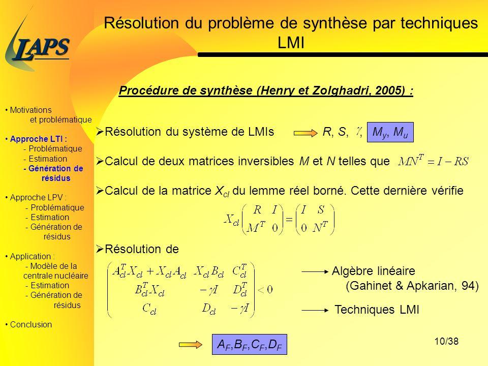 PAS L 10/38 Résolution du problème de synthèse par techniques LMI Procédure de synthèse (Henry et Zolghadri, 2005) : Résolution du système de LMIs R, S,, Calcul de deux matrices inversibles M et N telles que Calcul de la matrice X cl du lemme réel borné.