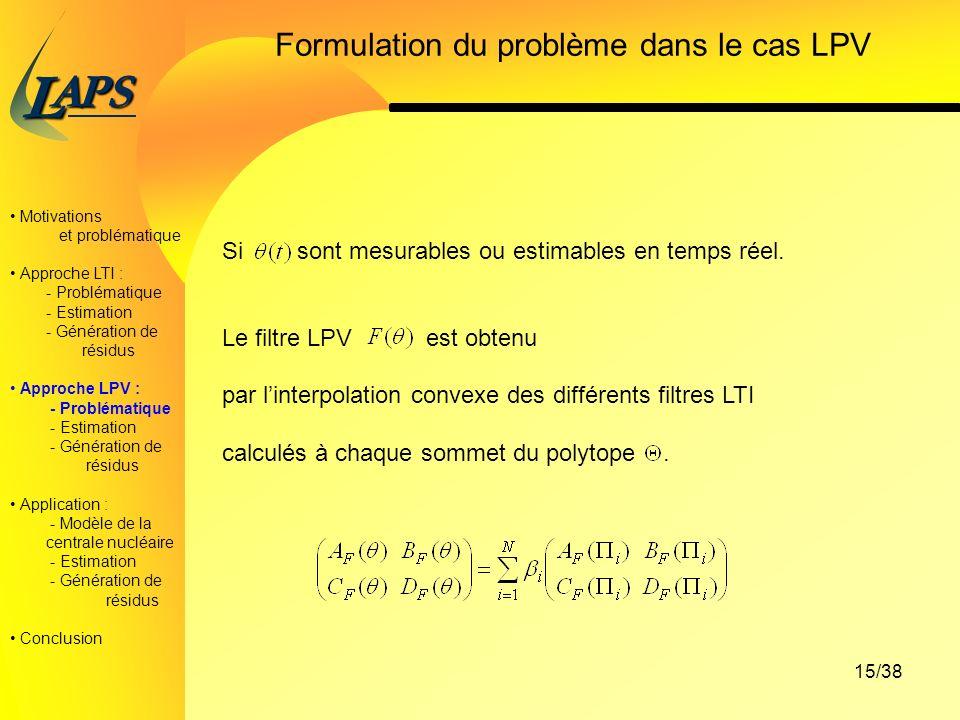 PAS L 15/38 Formulation du problème dans le cas LPV Motivations et problématique Approche LTI : - Problématique - Estimation - Génération de résidus Approche LPV : - Problématique - Estimation - Génération de résidus Application : - Modèle de la centrale nucléaire - Estimation - Génération de résidus Conclusion Si sont mesurables ou estimables en temps réel.
