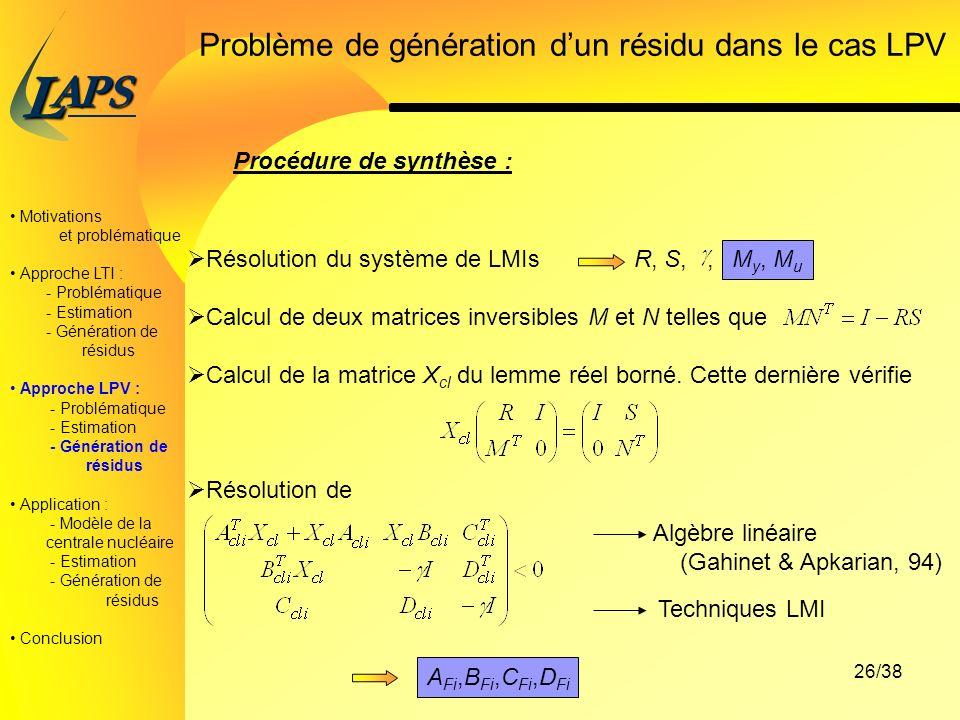 PAS L 26/38 Motivations et problématique Approche LTI : - Problématique - Estimation - Génération de résidus Approche LPV : - Problématique - Estimation - Génération de résidus Application : - Modèle de la centrale nucléaire - Estimation - Génération de résidus Conclusion Problème de génération dun résidu dans le cas LPV Procédure de synthèse : Résolution du système de LMIs R, S,, Calcul de deux matrices inversibles M et N telles que Calcul de la matrice X cl du lemme réel borné.