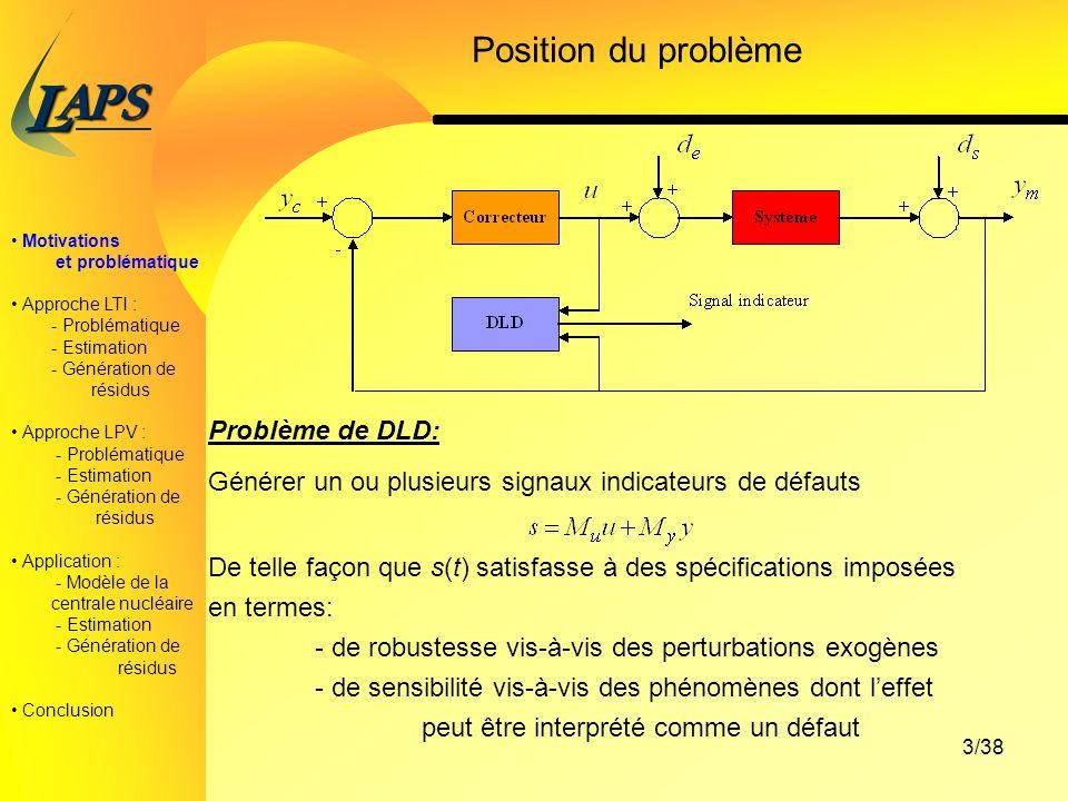 PAS L 3/38 Position du problème Problème de DLD: Générer un ou plusieurs signaux indicateurs de défauts De telle façon que s(t) satisfasse à des spécifications imposées en termes: - de robustesse vis-à-vis des perturbations exogènes - de sensibilité vis-à-vis des phénomènes dont leffet peut être interprété comme un défaut Motivations et problématique Approche LTI : - Problématique - Estimation - Génération de résidus Approche LPV : - Problématique - Estimation - Génération de résidus Application : - Modèle de la centrale nucléaire - Estimation - Génération de résidus Conclusion