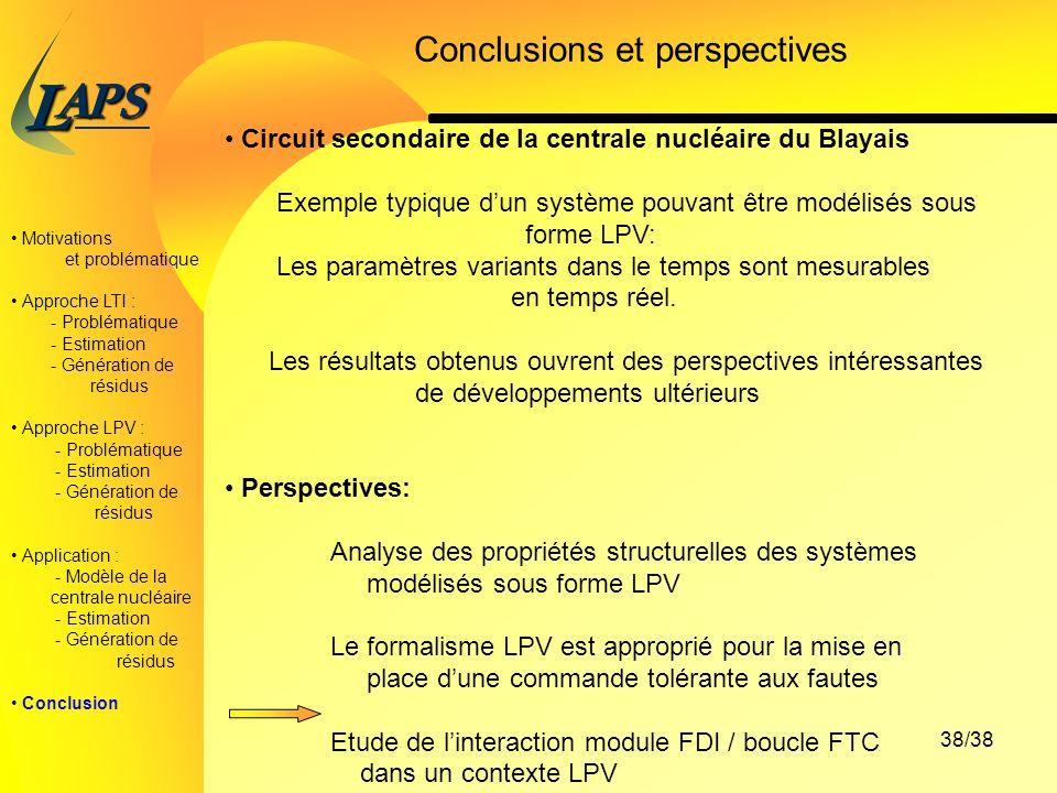PAS L 38/38 Motivations et problématique Approche LTI : - Problématique - Estimation - Génération de résidus Approche LPV : - Problématique - Estimation - Génération de résidus Application : - Modèle de la centrale nucléaire - Estimation - Génération de résidus Conclusion Conclusions et perspectives Circuit secondaire de la centrale nucléaire du Blayais Exemple typique dun système pouvant être modélisés sous forme LPV: Les paramètres variants dans le temps sont mesurables en temps réel.