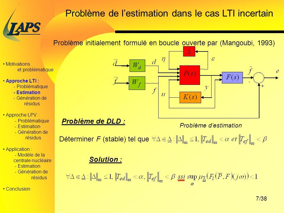 PAS L 7/38 Problème de lestimation dans le cas LTI incertain Problème initialement formulé en boucle ouverte par (Mangoubi, 1993) Problème destimation Problème de DLD : Déterminer F (stable) tel que Motivations et problématique Approche LTI : - Problématique - Estimation - Génération de résidus Approche LPV : - Problématique - Estimation - Génération de résidus Application : - Modèle de la centrale nucléaire - Estimation - Génération de résidus Conclusion Solution :