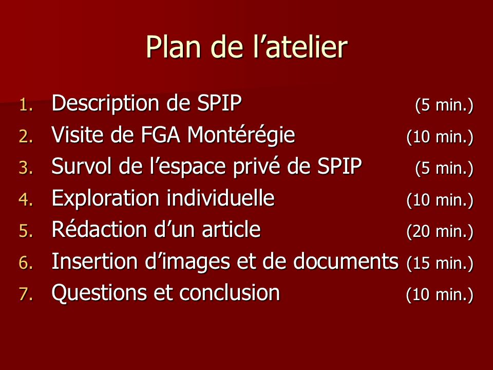 Plan de latelier 1.Description de SPIP (5 min.) 2.