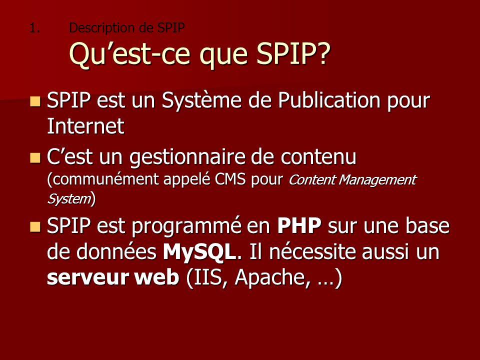 1. Quest-ce que SPIP? 1.Description de SPIP Quest-ce que SPIP? SPIP est un Système de Publication pour Internet SPIP est un Système de Publication pou