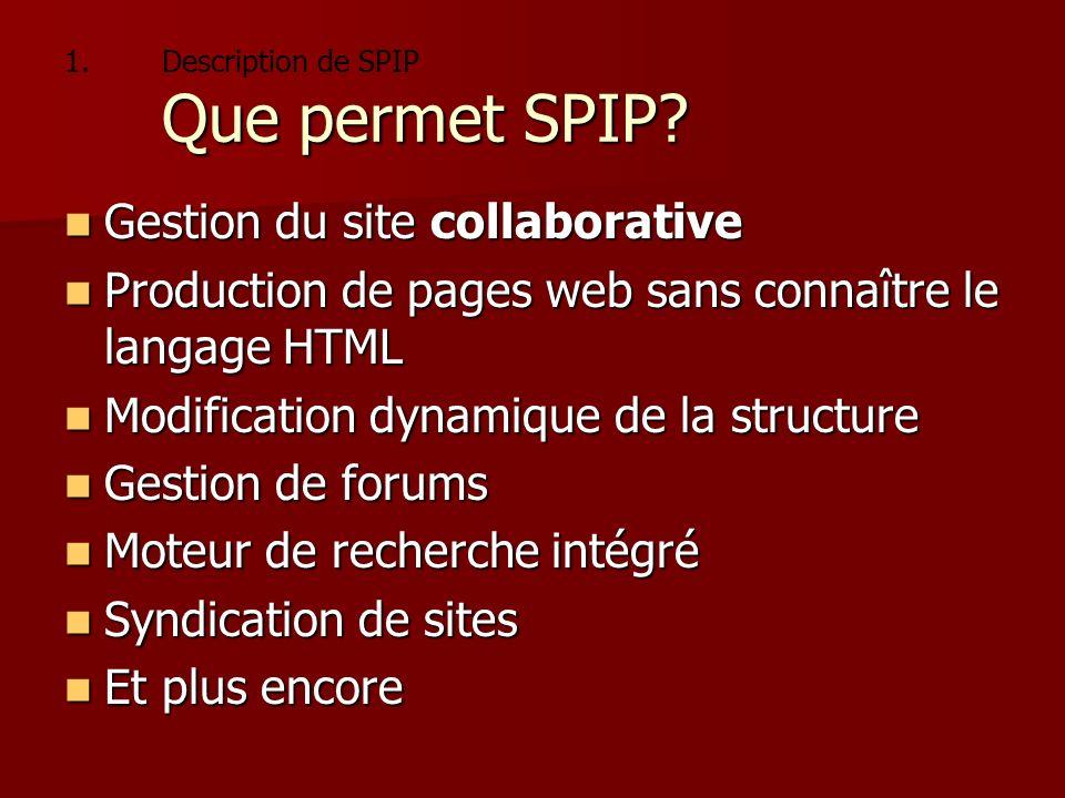 1.Pourquoi SPIP. 1.Description de SPIP Pourquoi SPIP.