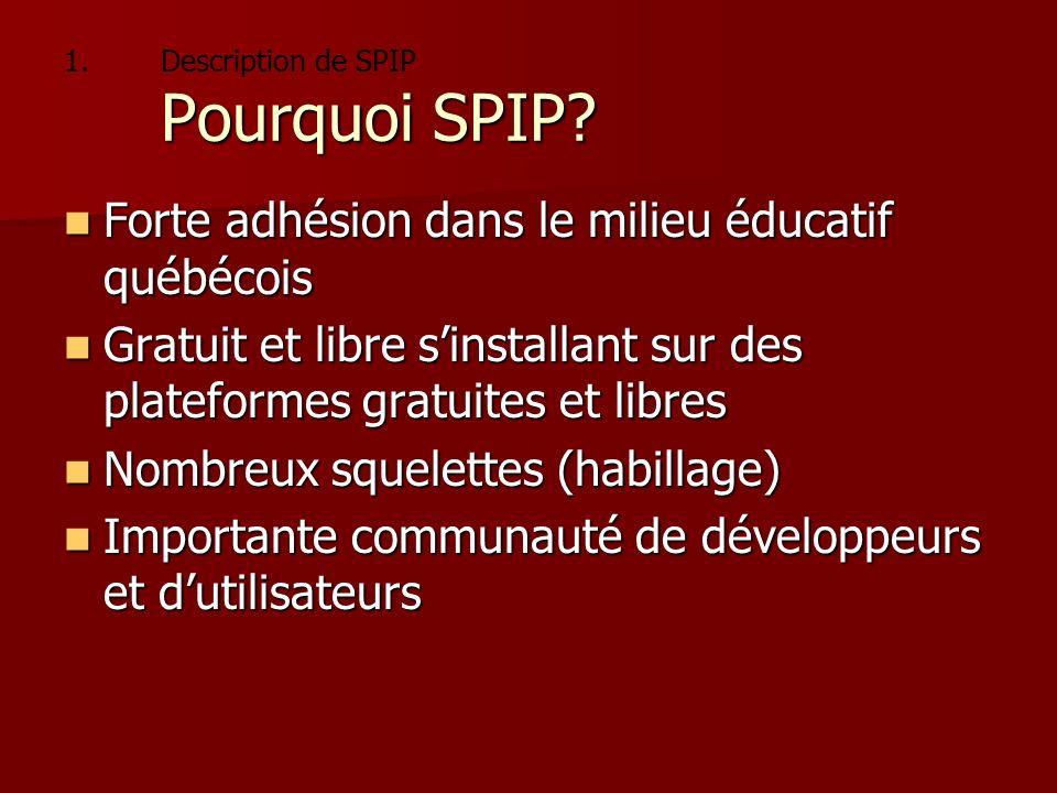 1. Pourquoi SPIP? 1.Description de SPIP Pourquoi SPIP? Forte adhésion dans le milieu éducatif québécois Forte adhésion dans le milieu éducatif québéco