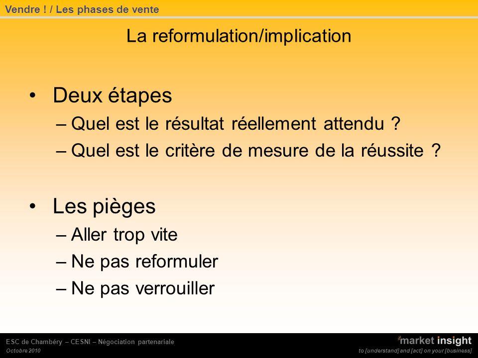 to [understand] and [act] on your [business] Octobre 2010 ESC de Chambéry – CESNI – Négociation partenariale La reformulation/implication Deux étapes –Quel est le résultat réellement attendu .