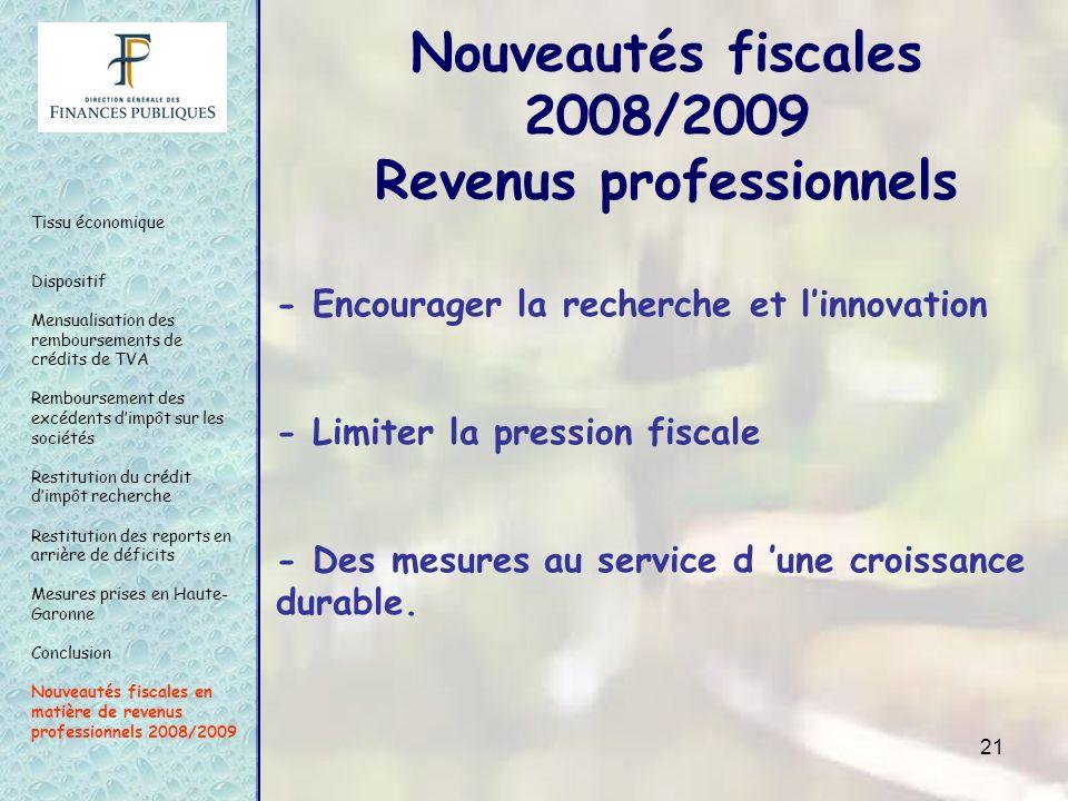 21 - Encourager la recherche et linnovation - Limiter la pression fiscale - Des mesures au service d une croissance durable. Tissu économique Disposit