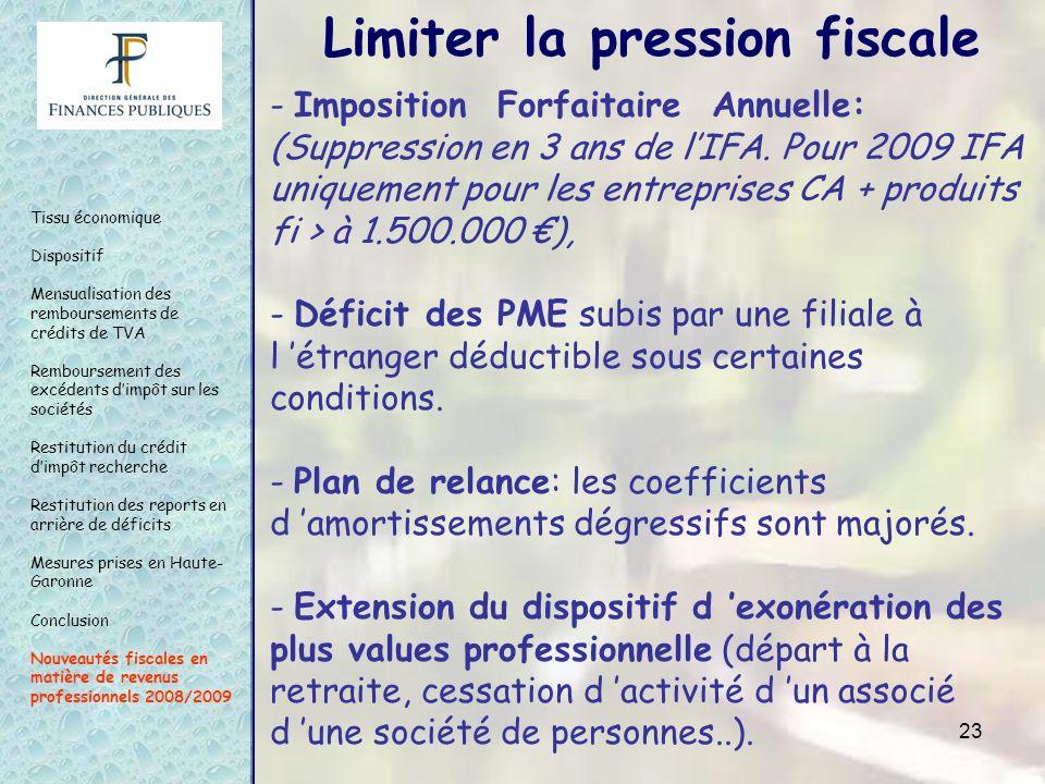 23 - Imposition Forfaitaire Annuelle: (Suppression en 3 ans de lIFA. Pour 2009 IFA uniquement pour les entreprises CA + produits fi > à 1.500.000 ), -
