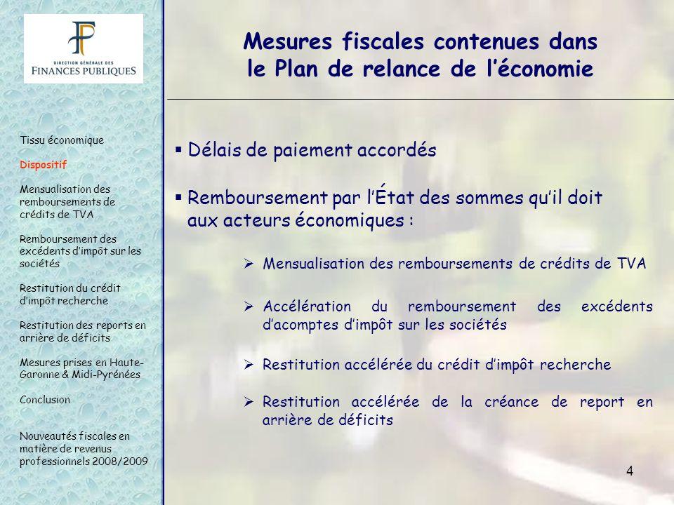 4 Mesures fiscales contenues dans le Plan de relance de léconomie Mensualisation des remboursements de crédits de TVA Tissu économique Dispositif Mens