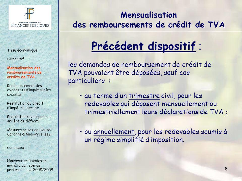 6 Mensualisation des remboursements de crédit de TVA Précédent dispositif : les demandes de remboursement de crédit de TVA pouvaient être déposées, sa