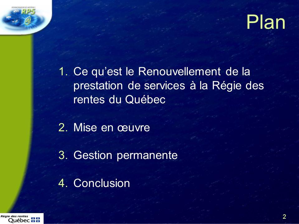 3 Plan 1.Ce quest le Renouvellement de la prestation de services à la Régie des rentes du Québec 2.Mise en œuvre 3.Gestion permanente 4.Conclusion