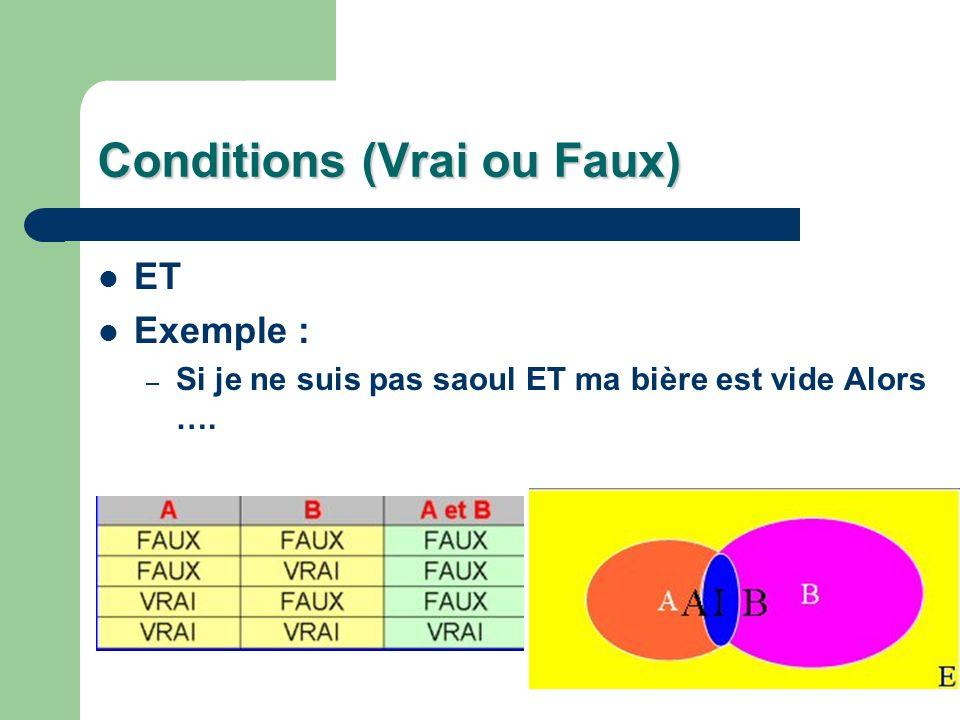 Conditions (Vrai ou Faux) ET Exemple : – Si je ne suis pas saoul ET ma bière est vide Alors ….