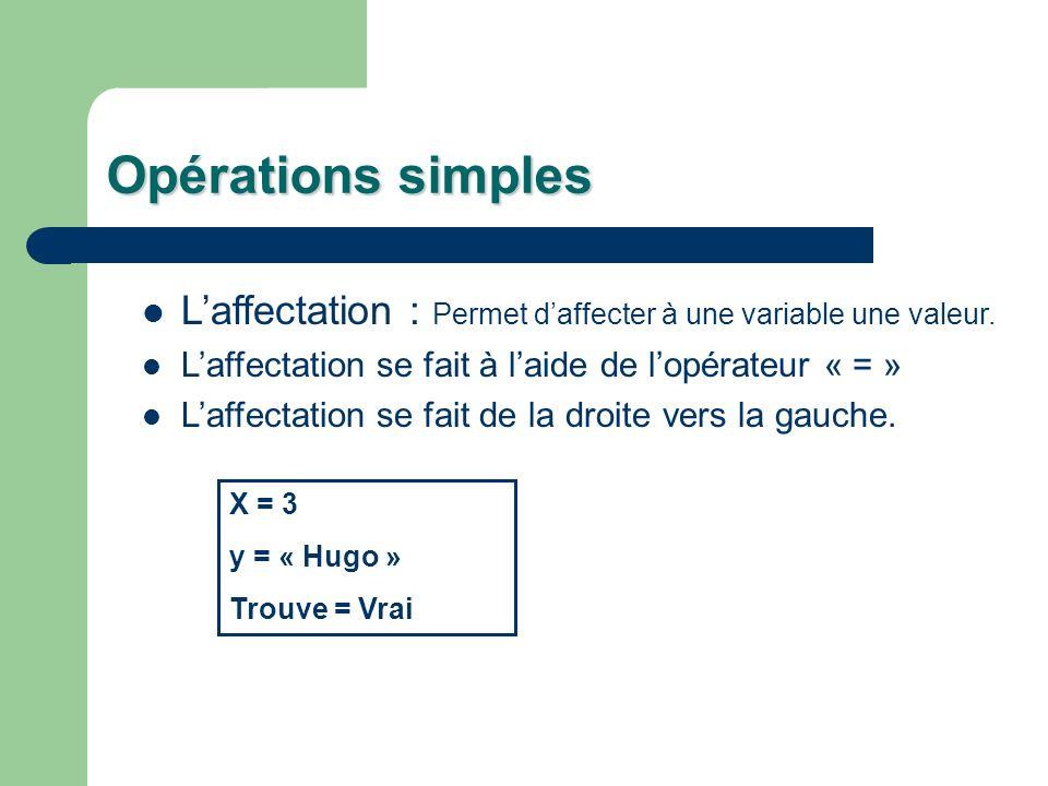 Opérations simples Laffectation : Permet daffecter à une variable une valeur. Laffectation se fait à laide de lopérateur « = » Laffectation se fait de