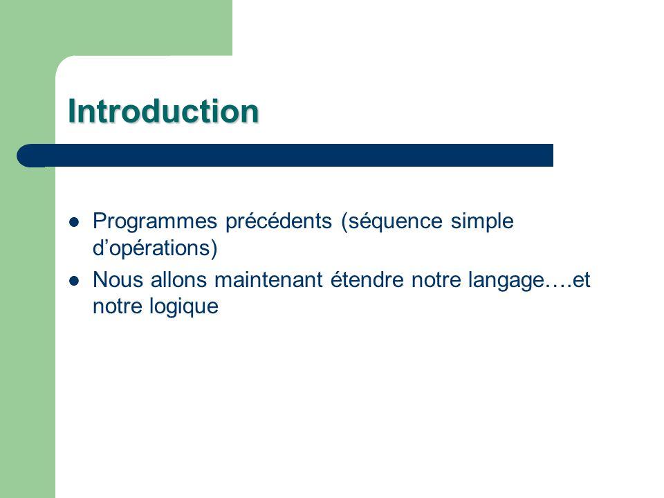 Introduction Programmes précédents (séquence simple dopérations) Nous allons maintenant étendre notre langage….et notre logique