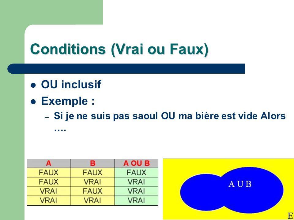 Conditions (Vrai ou Faux) OU inclusif Exemple : – Si je ne suis pas saoul OU ma bière est vide Alors ….