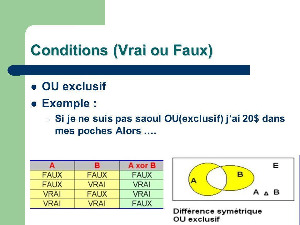 Conditions (Vrai ou Faux) OU exclusif Exemple : – Si je ne suis pas saoul OU(exclusif) jai 20$ dans mes poches Alors ….