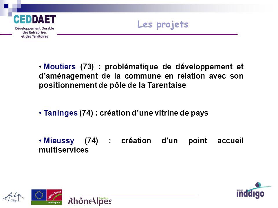 Les projets Moutiers (73) : problématique de développement et daménagement de la commune en relation avec son positionnement de pôle de la Tarentaise Taninges (74) : création dune vitrine de pays Mieussy (74) : création dun point accueil multiservices