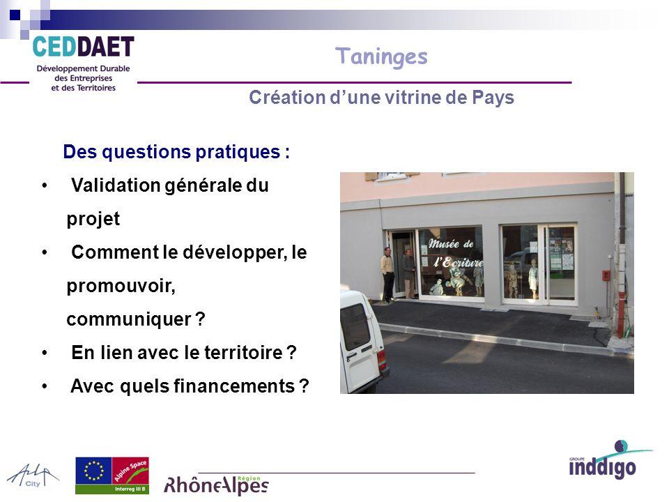 Taninges Création dune vitrine de Pays Des questions pratiques : Validation générale du projet Comment le développer, le promouvoir, communiquer .