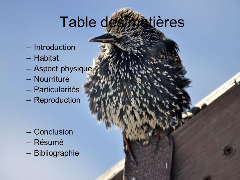 Table des matières –Introduction –Habitat –Aspect physique –Nourriture –Particularités –Reproduction –Conclusion –Résumé –Bibliographie