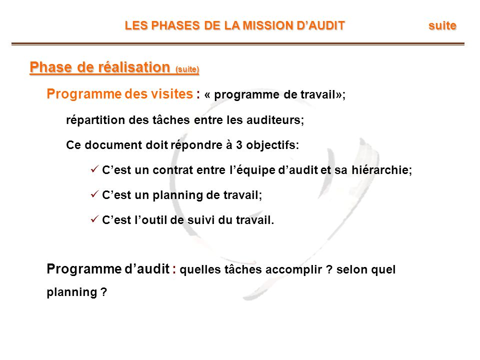 LES PHASES DE LA MISSION DAUDIT suite Phase de réalisation (suite) Programme des visites : « programme de travail»; répartition des tâches entre les a
