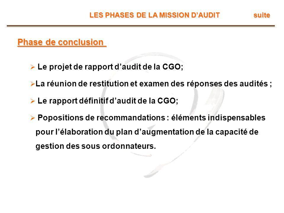 LES PHASES DE LA MISSION DAUDIT suite Phase de conclusion Le projet de rapport daudit de la CGO; La réunion de restitution et examen des réponses des