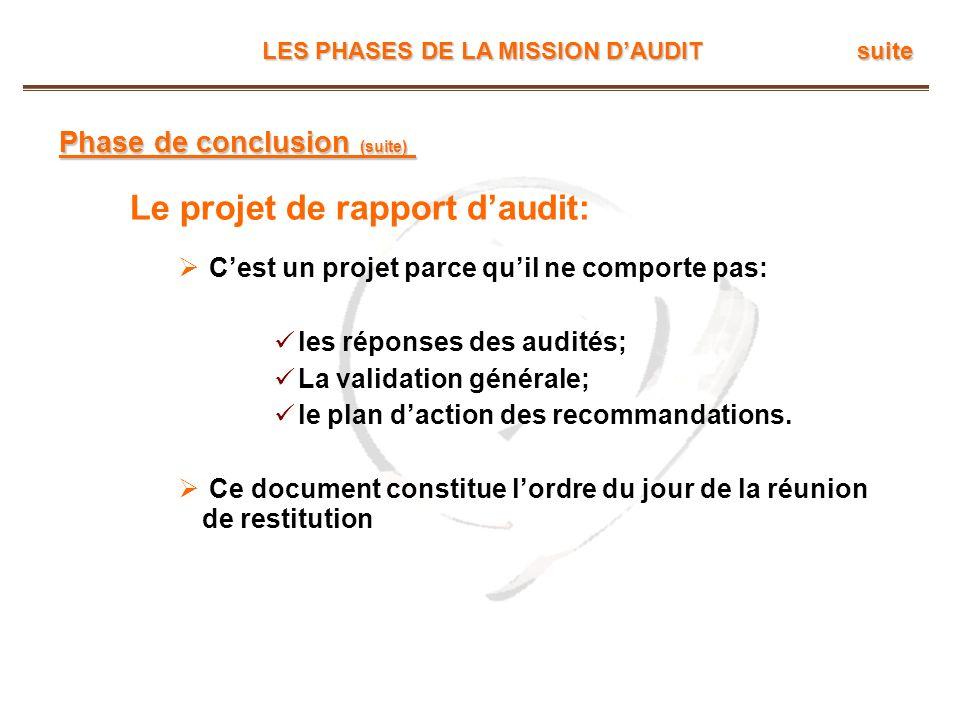 LES PHASES DE LA MISSION DAUDIT suite Phase de conclusion (suite) Le projet de rapport daudit: Cest un projet parce quil ne comporte pas: les réponses