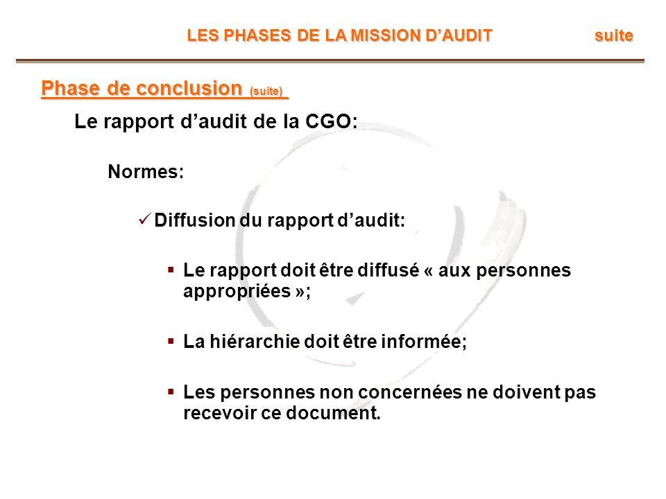 LES PHASES DE LA MISSION DAUDIT suite Phase de conclusion (suite) Le rapport daudit de la CGO: Normes: Diffusion du rapport daudit: Le rapport doit êt