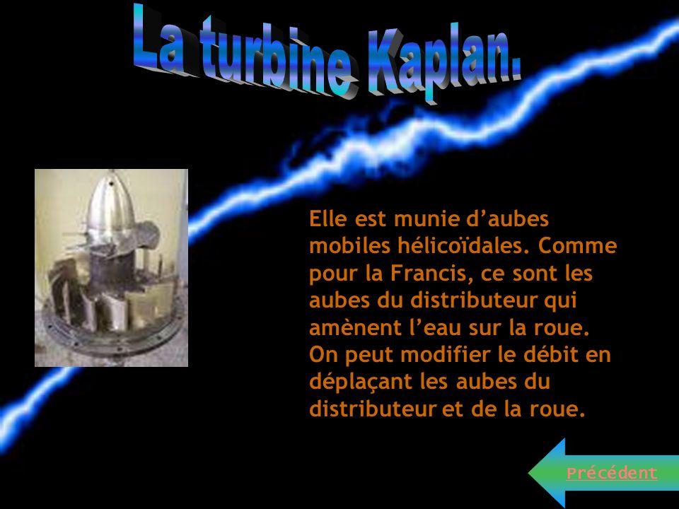 Ce sont des turbines utilisées lors des hautes chutes et petits débits. Le débit des injecteurs est réglé avec le pointeau mobile de l'injecteur (comm