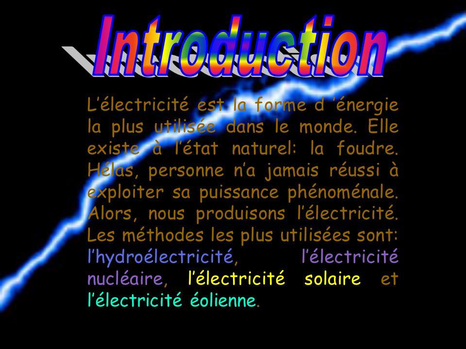 Lélectricité est la forme d énergie la plus utilisée dans le monde.