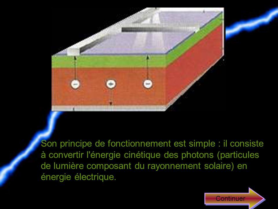 Une photopile est essentiellement composée de silicium que lon a traité pour faciliter la production délectricité. Elles permettent en effet la transf