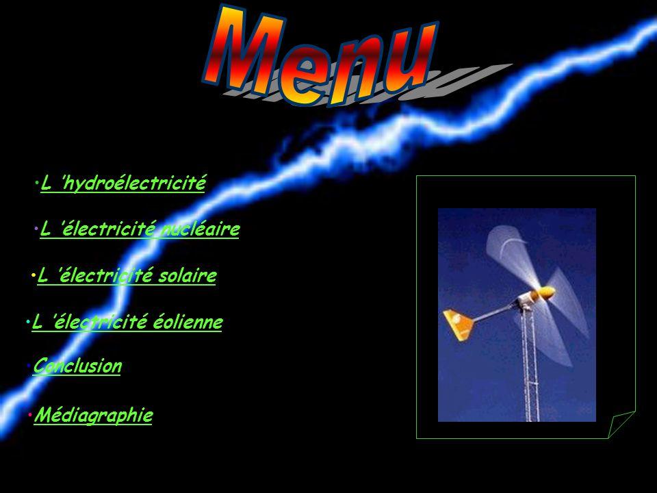 L électricité nucléaire L électricité solaire L électricité éolienne Conclusion Médiagraphie L hydroélectricité