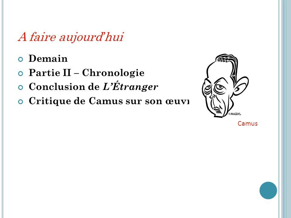 A faire aujourd hui Demain Partie II – Chronologie Conclusion de LÉtranger Critique de Camus sur son œuvre Camus
