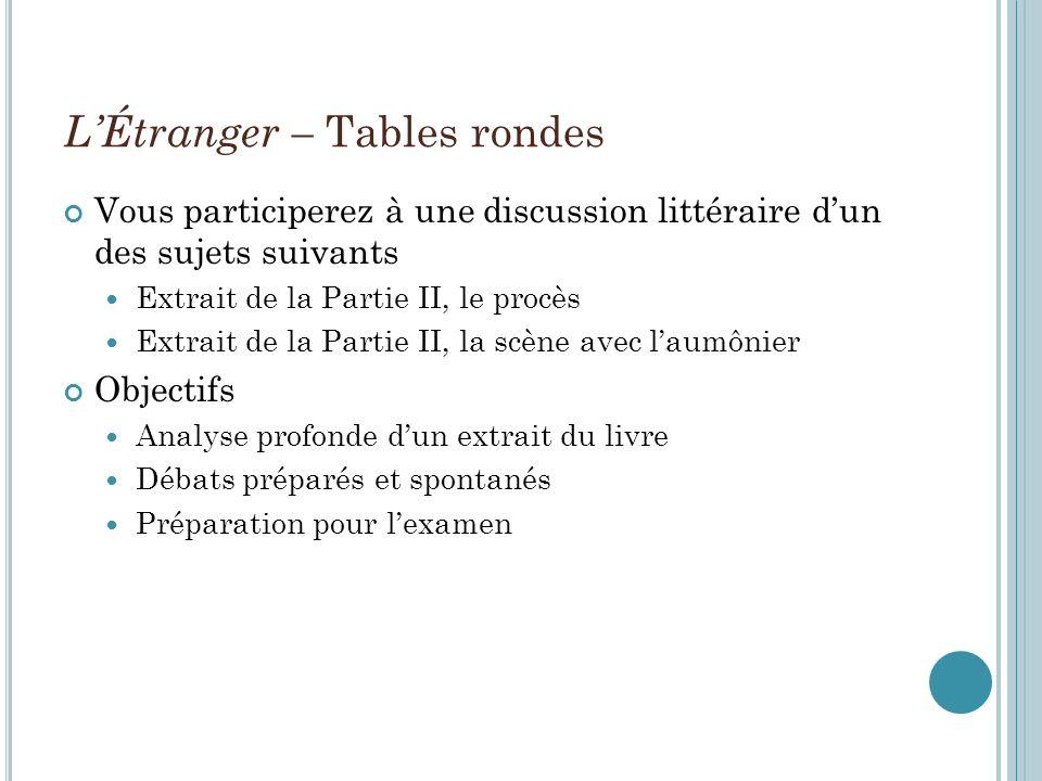 LÉtranger – Tables rondes Vous participerez à une discussion littéraire dun des sujets suivants Extrait de la Partie II, le procès Extrait de la Parti
