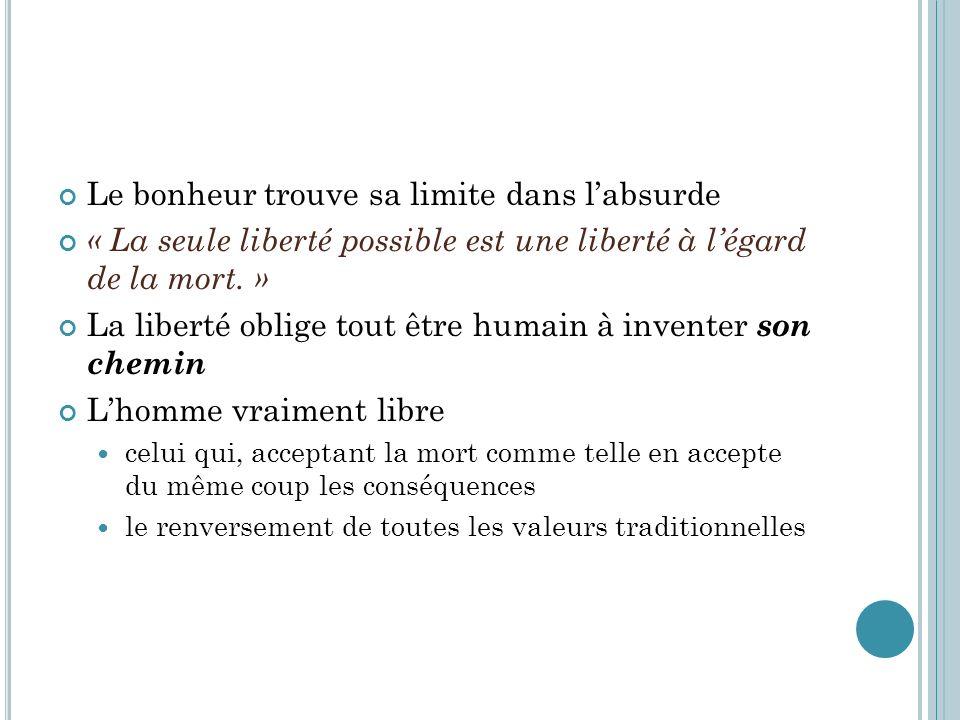 Le bonheur trouve sa limite dans labsurde « La seule liberté possible est une liberté à légard de la mort. » La liberté oblige tout être humain à inve