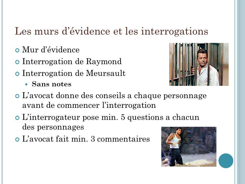 Les murs dévidence et les interrogations Mur dévidence Interrogation de Raymond Interrogation de Meursault Sans notes Lavocat donne des conseils a cha