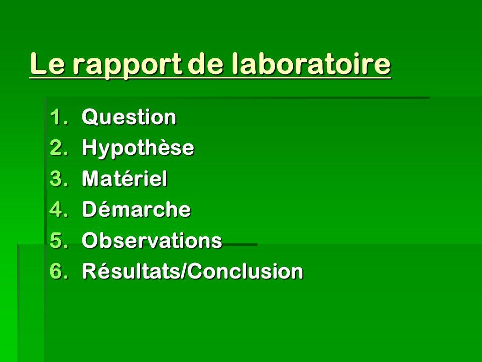 Le rapport de laboratoire 1.Question 2.Hypothèse 3.Matériel 4.Démarche 5.Observations 6.Résultats/Conclusion