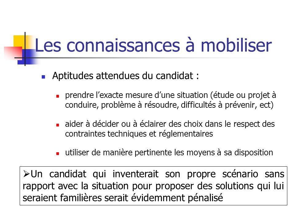 Les connaissances à mobiliser Aptitudes attendues du candidat : prendre lexacte mesure dune situation (étude ou projet à conduire, problème à résoudre