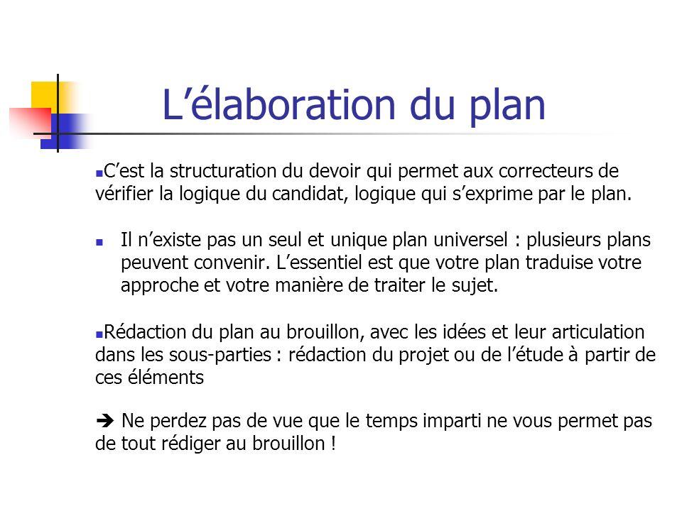 Lélaboration du plan Cest la structuration du devoir qui permet aux correcteurs de vérifier la logique du candidat, logique qui sexprime par le plan.