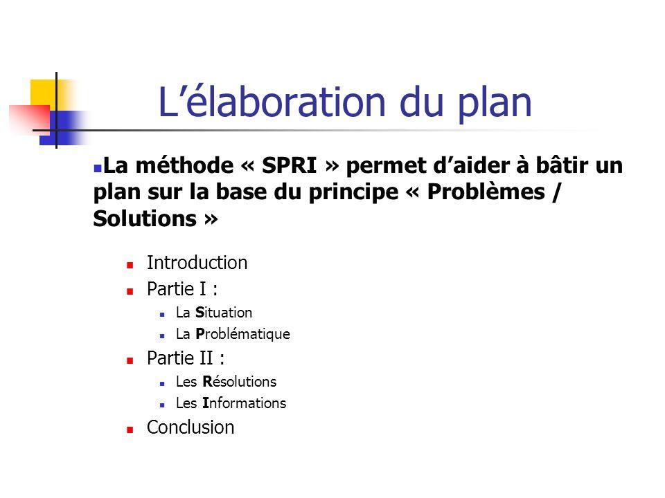 Lélaboration du plan La méthode « SPRI » permet daider à bâtir un plan sur la base du principe « Problèmes / Solutions » Introduction Partie I : La Si