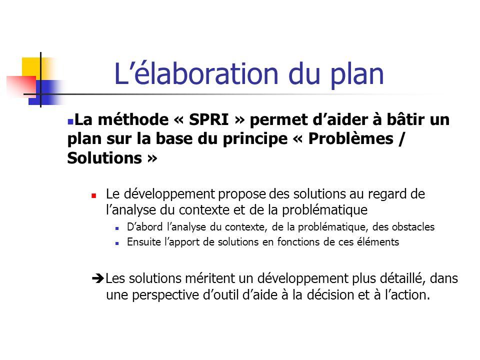Lélaboration du plan La méthode « SPRI » permet daider à bâtir un plan sur la base du principe « Problèmes / Solutions » Le développement propose des