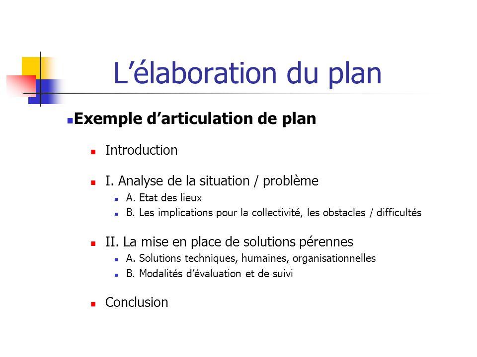 Lélaboration du plan Exemple darticulation de plan Introduction I. Analyse de la situation / problème A. Etat des lieux B. Les implications pour la co