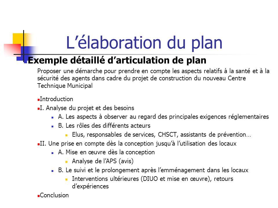 Lélaboration du plan Exemple détaillé darticulation de plan Proposer une démarche pour prendre en compte les aspects relatifs à la santé et à la sécur