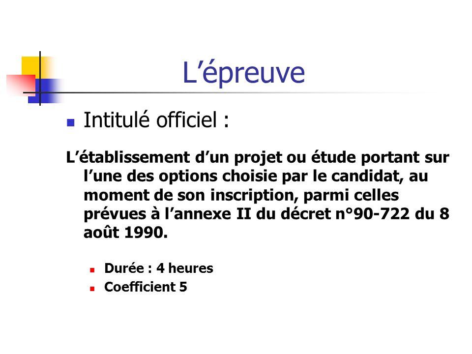 Lépreuve Intitulé officiel : Létablissement dun projet ou étude portant sur lune des options choisie par le candidat, au moment de son inscription, pa