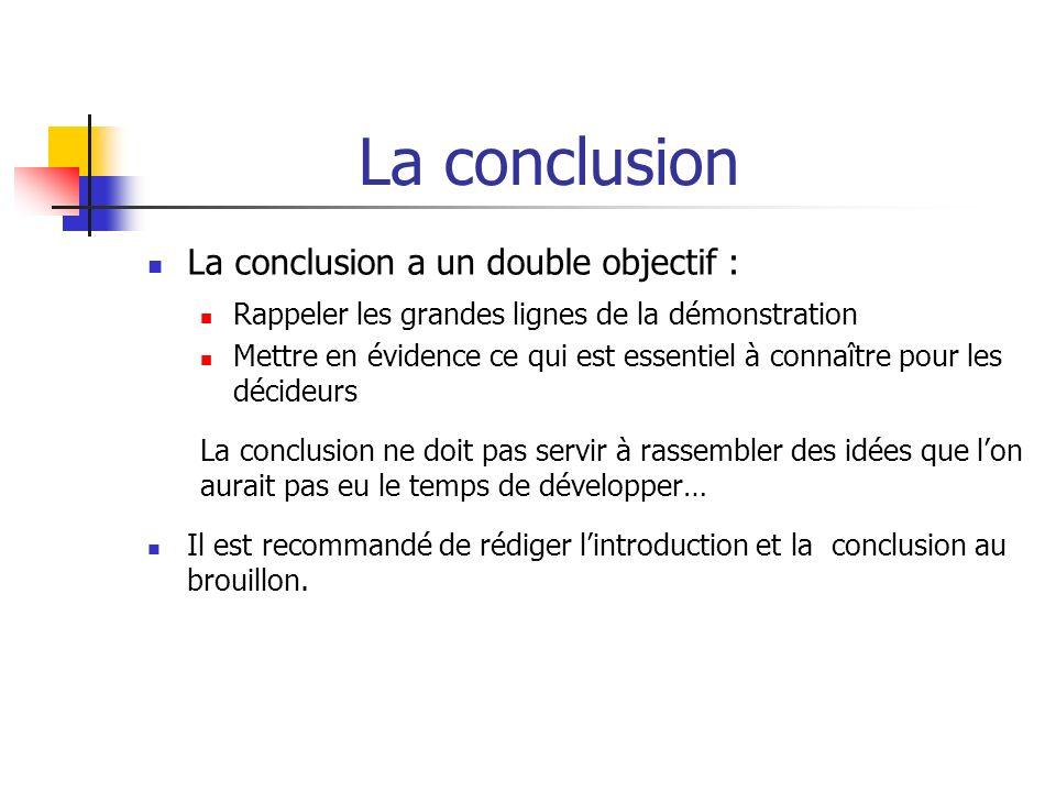 La conclusion La conclusion a un double objectif : Rappeler les grandes lignes de la démonstration Mettre en évidence ce qui est essentiel à connaître